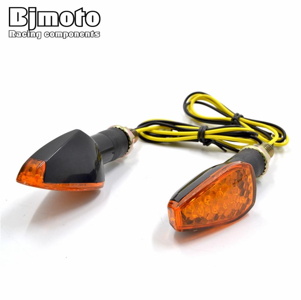 Bjmoto 2 pcs Motorcycle Turn Signals Light LED Lights Indicators Flasher Girare for yamaha honda kawasaki suzuki motocross