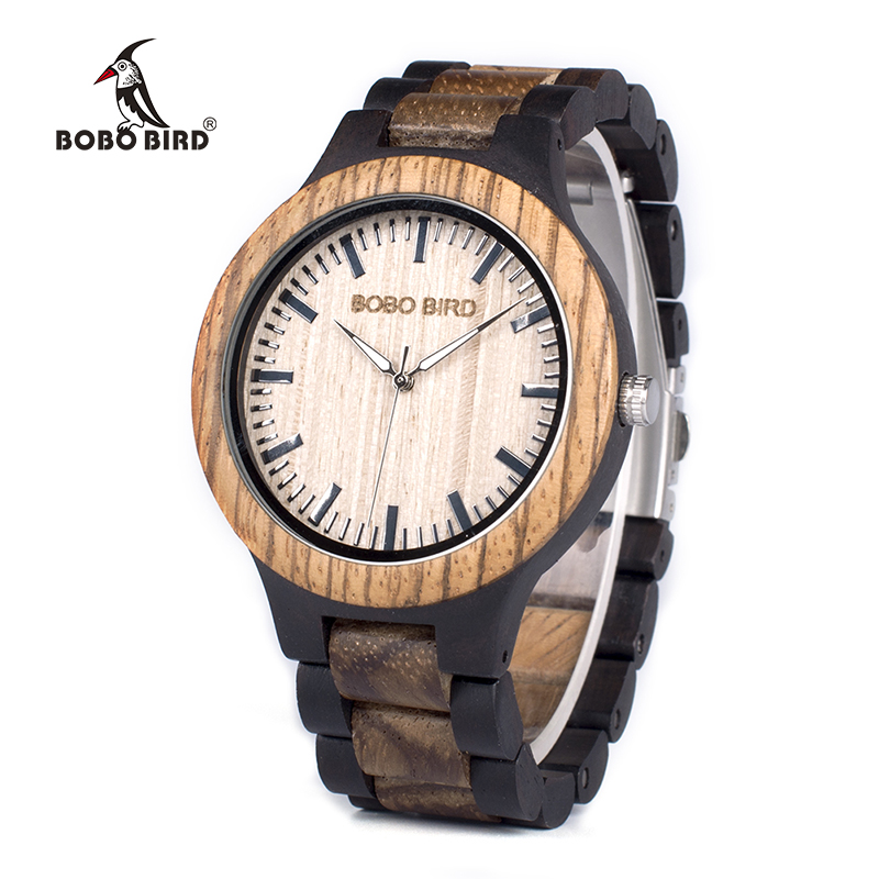 BOBO BIRD WN28 Mens Wood Watch Zabra Wooden Quartz Watches for Men Japan miyota 2035 Watch in Gift Box with tool for adjust size bobo bird f08 mens ebony wood watch japan movement 2035 quartz wristwatch with leather strap in gift box free shipping