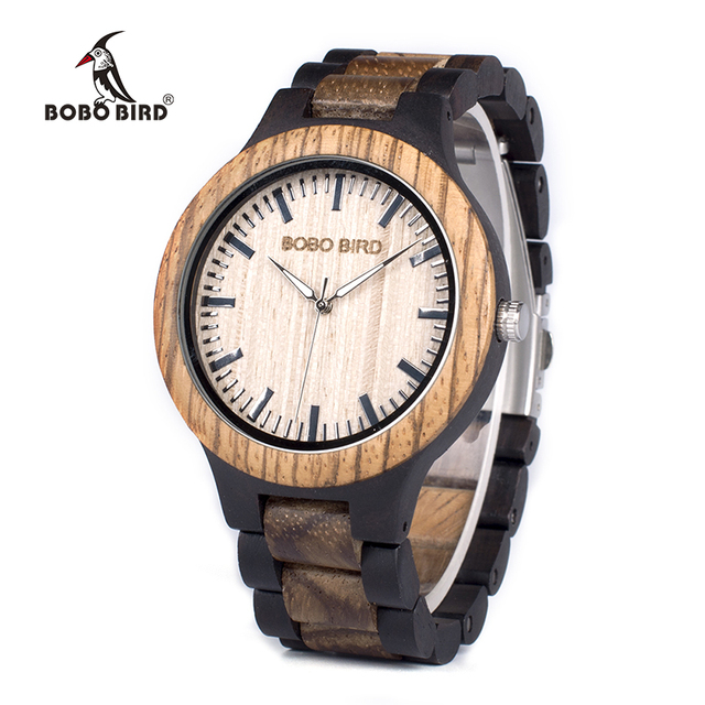 BOBO BIRD WN28 Mens Wood Watch Zabra Wooden Quartz Watches for Men Japan miyota