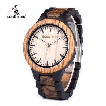 Bobo bird wn28 남성용 우드 시계 zabra 남성용 쿼츠 시계 일본 miyota 2035 조정 크기의 도구가있는 선물 상자에 시계