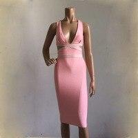 Free Shipping 2015 New Arrival Pink Autumn V Neck Spaghetti Strap Bodycon HL Bandage Dress Club