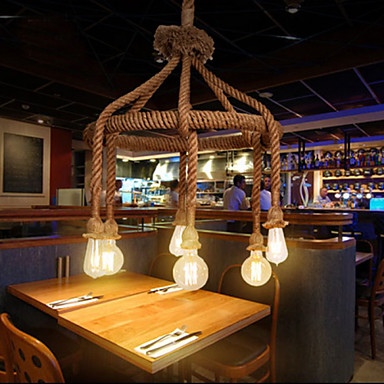 America Retro Loft Industrial Pendant Lights Fixtures Dinning Room Hemp Rope Lamp Vintage Light Home Lighting Lampara iwhd loft industrial hemp rope pendant lights iron vintage lamp retro living room pendant light fixtures home lighting hanglamp