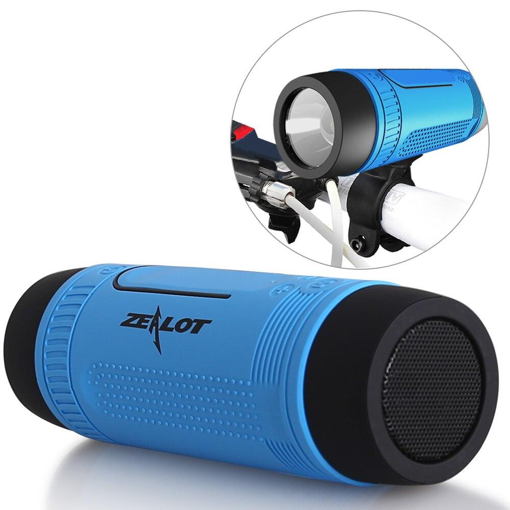 Bluetooth Haut-Parleur Extérieur Portable Subwoofer Basse Haut-parleurs 4000 mAh Puissance Banque + LED lumière Mousqueton Zélote S1