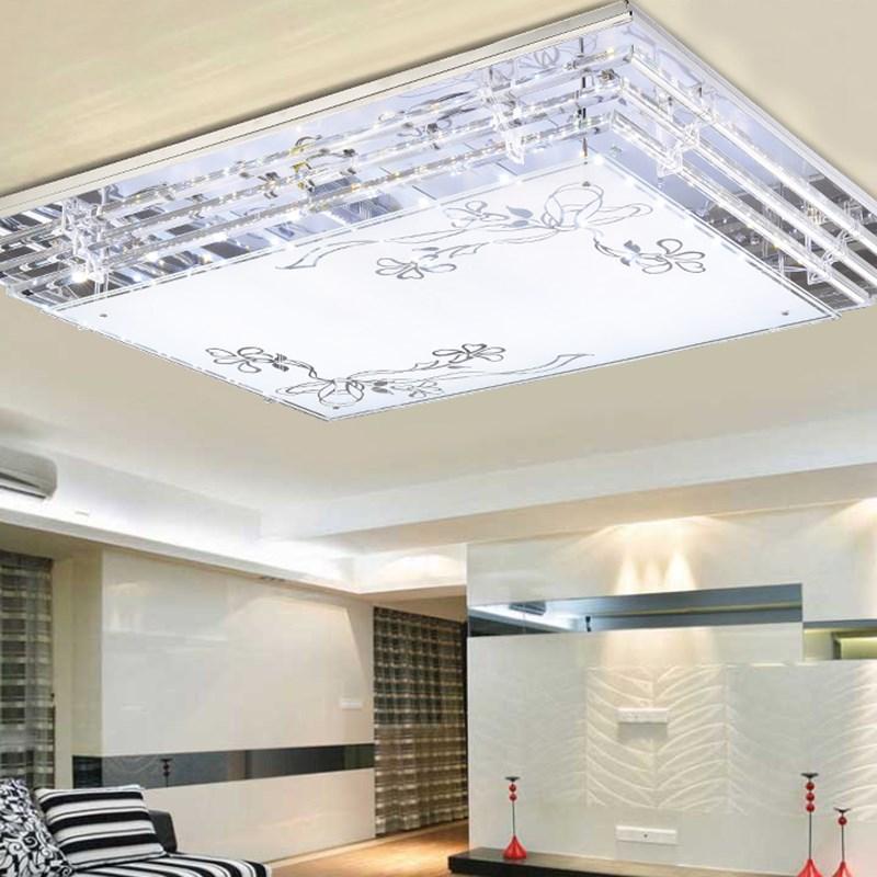 Moderne Simple Lampe Creative Chambre monté luminaire LED Plafond Lampe Crystal Light Rectangulaire Salon Lumière ya75 SJ10