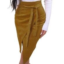KLV/ Женская мода солидное ассиметричное галстуком-бабочкой пояса до колена-Длина юбка D4