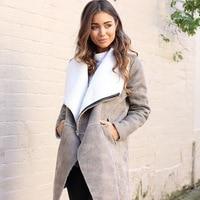 2018 Winter Suede Lambswool Coat women Elegant Warm Zipper Cashmere Coat Turn Down Collar Wide Waisted Overcoat Long Sleeve Faux