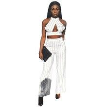 de3bf1baa5b14 Lemon Gina Women White Navy Blue Stripes Sleeveless Crosscriss Crop Tops  Straight