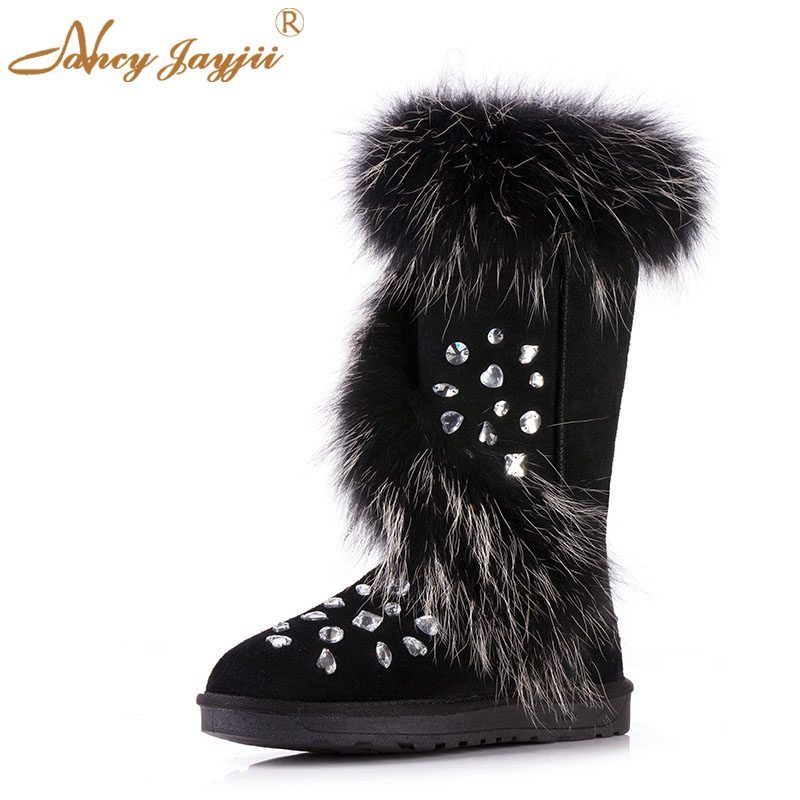 Fashion Winter Warm Plush Shoes Crystal Round Toe Ankle Boots Flat Heels Booties Shoes Woman Snow Outdoor 2018 Normal Shoes 42 ...