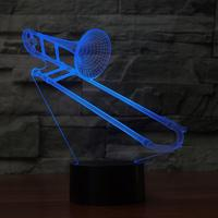 3D Trombone Shape NightLight Color Changing USB Table Lamp Visual LED Sleep Lighting Luminaria Musical Instruments