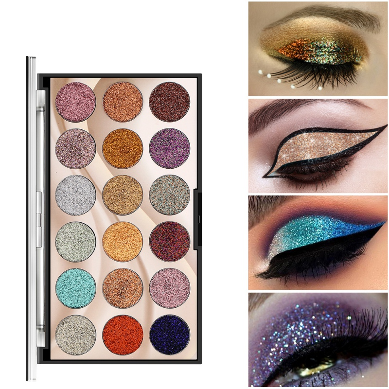 New <font><b>18</b></font> Color Sequins Pink Glitter Eye Shadow Shiny Eyeshadow Golden Powder Waterproof Long Lasting shimmer eyeshadow palette image