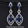 Fashion Women White Gold Plated Royal Blue Austrian Crystal Large Water Drop Dangle Drop Earrings For Women ER161