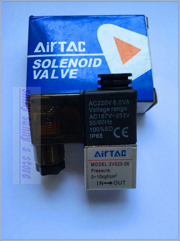 1Pcs 2V025-06 AC220V PT1/8 2 Position 2 Way Solenoid Valve IP65 Normally Closed