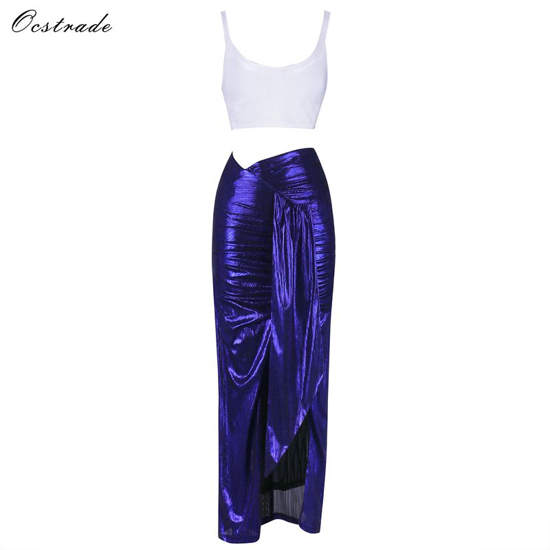 Ocstrade Christmas Party Spring Women Sets 2019 New Sexy White Cropped Bandage Top and Metallic Sapphire