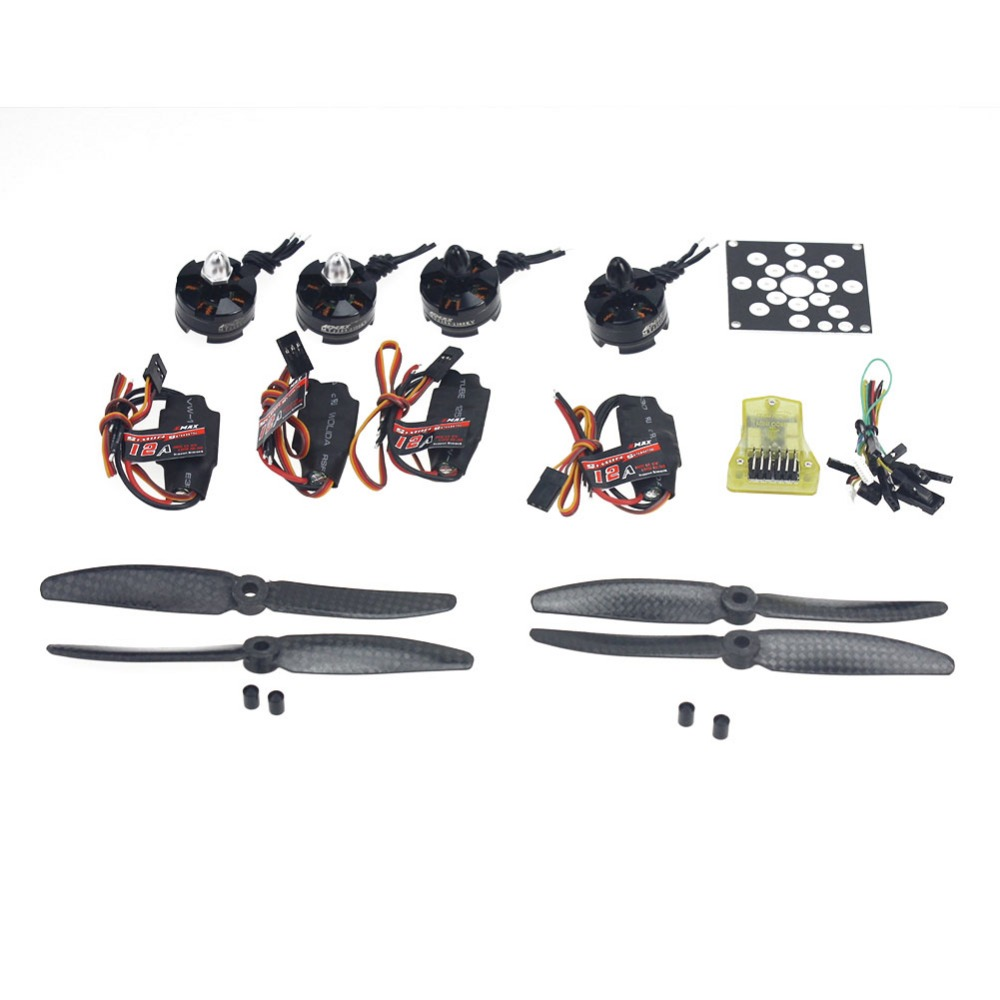 4-Axis Helicopter Kit KV2300 Brushless Motor+12A ESC+Straight Pin Flight Control+5030 Propeller F12065-U electronic components set kv2300 brushless motor 12a esc straight pin flight control open source for 250 helicopter f12065 b