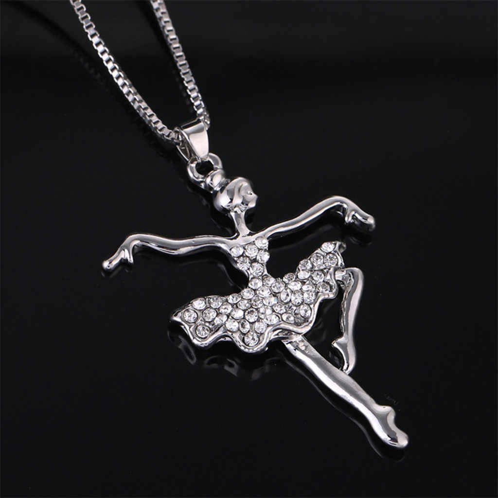 Berlapis Perak Putih Dancing Ballerina Dancer Tari Balet Liontin Kalung Pesona Penari Gadis Valentine 'S Hari Hadiah L0605