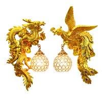 Феникс дракона Настенные светильники Гостиная Декоративные настенный светильник спальня коридор столовая китайское искусство благоприят