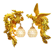 Dragon Phoenix Wall Lamps Living Room Decorative Wall Lamp Bedroom Corridor  Dining Room Chinese Art Auspicious