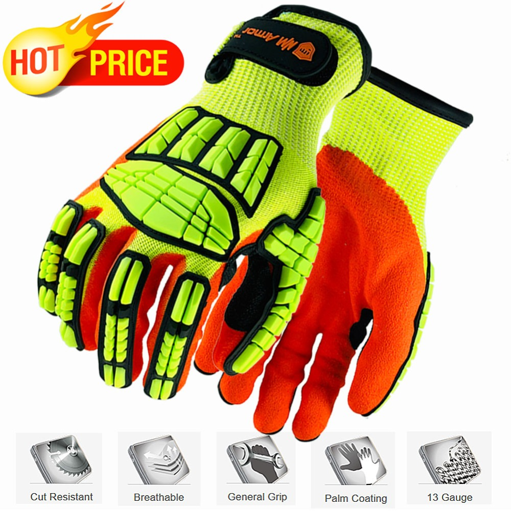 NMSafety New Mechanic Gloves Anti Vibration Cut-Resistant Safety Hand Glove Working Protection