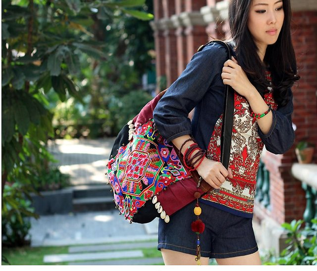 New Arrival! Thai Style Embroidry Leather Shoulder Bag Hmong Embroidered  Canvas Handbag Mesager Bag Personalized Boho 03b2e049c757a