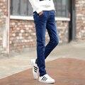 Novo 2016 homens da Moda Jeans Stretch Azul Escuro Jeans Skinny Para homens Casual Slim Fit Denim Calças Estilo Coreano Calças Masculinas calças de Brim
