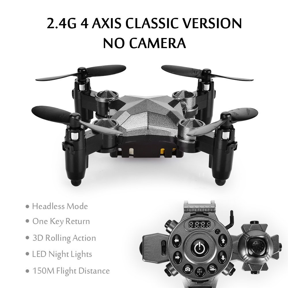 EBOYU(TM) DH800 2.4G 4CH 0.3MP WIFI FPV Camera Portable Drone RC Quadcopter Watch Style Mini RC UFO Pocket Drone for Kids RTF