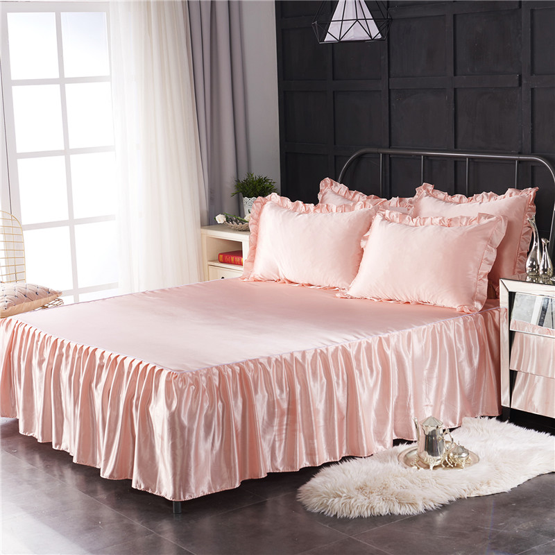Imitez la soie Polyester lit jupe chambre couleur unie feuille plate moderne doux Satin couverture de lit