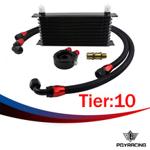 PQY- UNIVERSAL 10 ROWS  TRUST TYPE OIL COOLER+OIL FILTER SANDWICH ADAPTER BLACK + SS NYLON STAINLESS STEEL BRAIDED AN10 HOSE