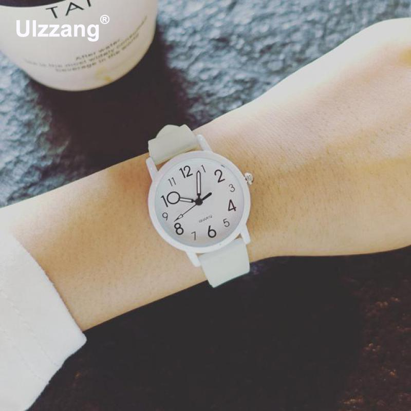 Fashion Ulzzang Brand Silicone Band Quartz Wrist Watch Wristwatches for Women Female Girls Children Students Pink White kids watches children silicone wristwatches doraemon brand quartz wrist watch baby for girls boys fashion casual reloj