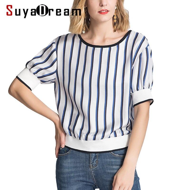 Women T Shirt 100 REAL SILK Striped Print Shirt Short Sleeved 2019 Spring Summer Printed T