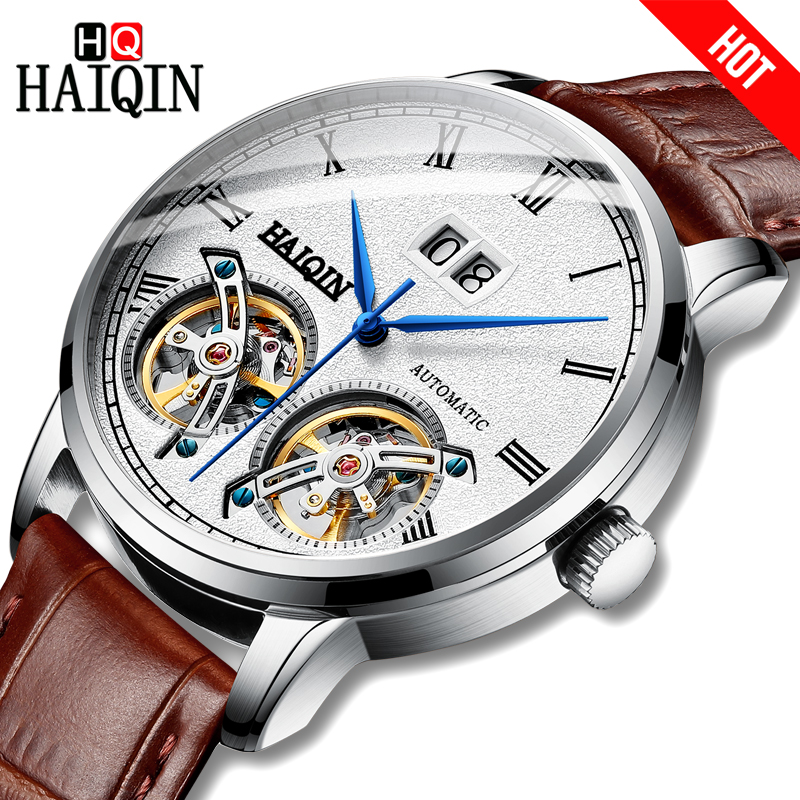 HAIQIN Luxury brand Automatic mechanical Men Watches Leather Waterproof Chronograph Military Sports Wristwatch Relogio Masculino