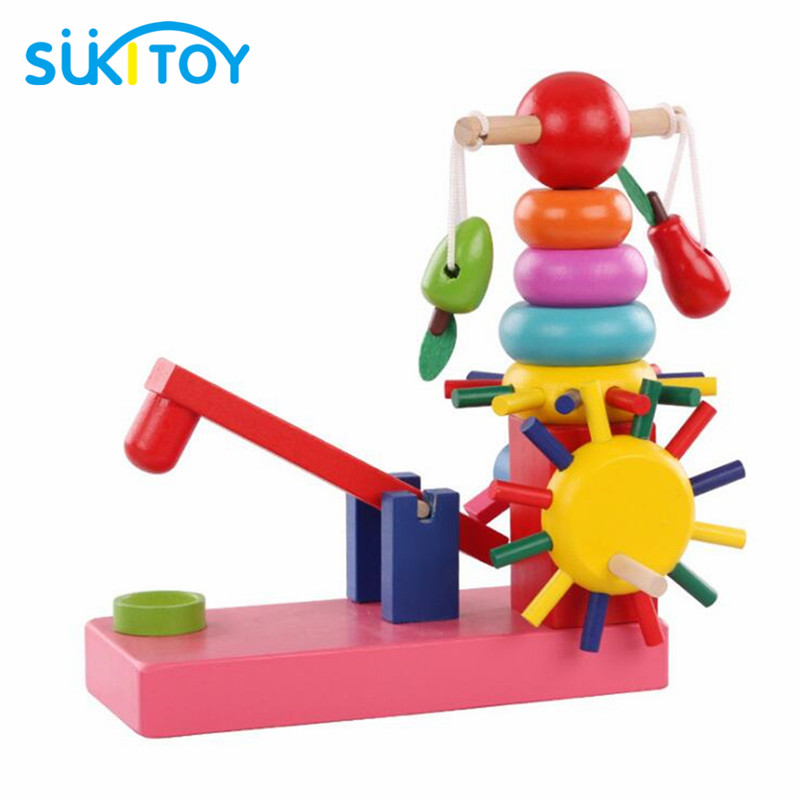 SUKIToy Wooden Rainbow Building Block Early educational Soft Montessori  intelligent creative interactive toys WD041 wooden classic fishing toy game with family kids gift educational soft montessori children intelligent creative interactive toys