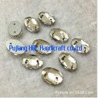 Groothandel! 10x14mm 108 stks Ovale Vorm Crystal Clear naai Knoppen Plaksteen Naaien Fancy Sieraden Maken Materialen