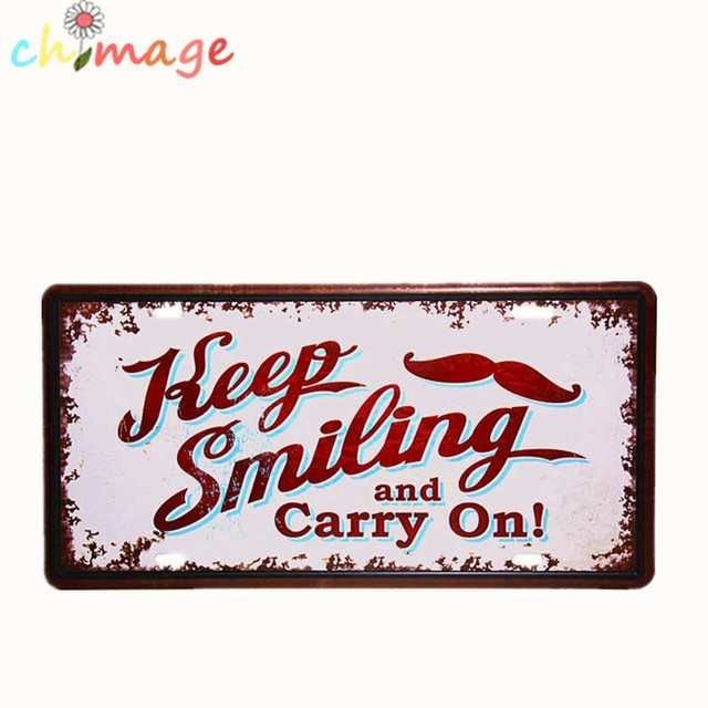 Online Keep Smiling And Carry On Car License Plate Vintage Tin Sign Bar Pub Home Kitchen Wall Decor Retro Metal Art Poster Aliexpress Mobile