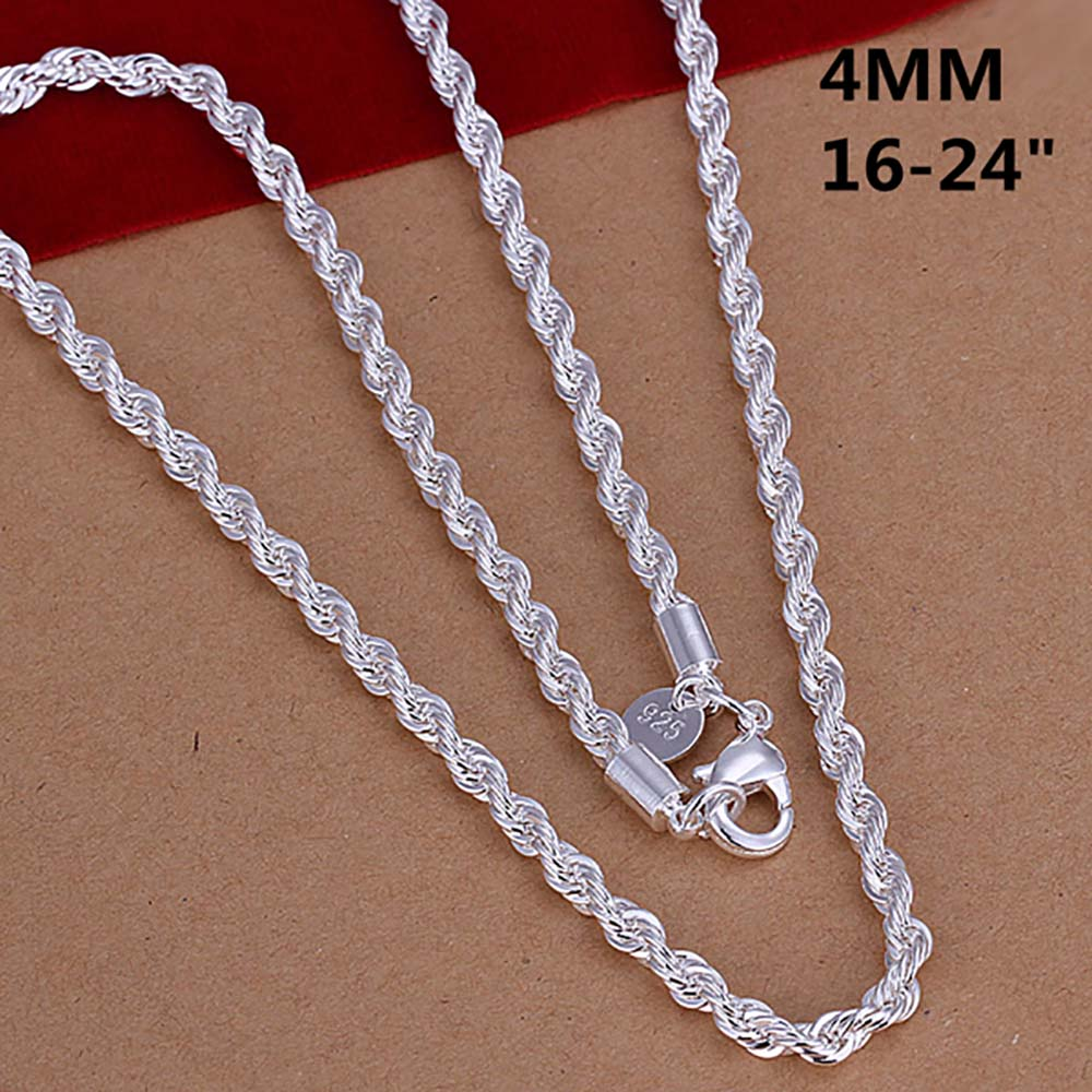 Super Shinning 925 Jewelry Plating Silver Necklace Fashion 2mm/3mm/4mm 16-24inch Women/Mens Shine Twisted Rope Chain Necklaces