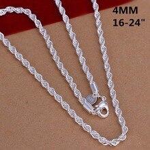 70e3a1d9d81b Super brillante 925 Chapado en joyería de moda Collar de plata 2mm 3mm 4 MM  16-24 pulgadas mujer hombre brillo cadena collares