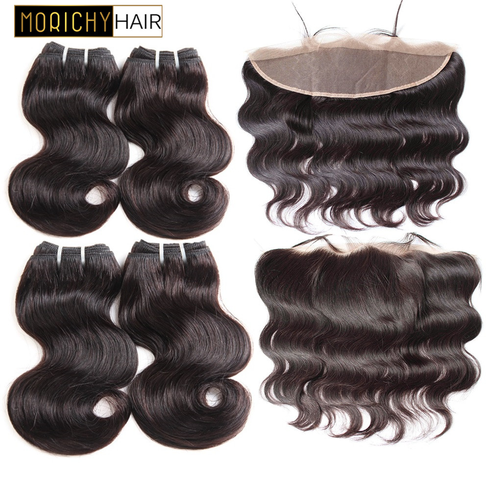 MORICHY 50g/pcs Body Wave Bundles With Frontal 8inch Human Hair 4 Bundles With 13x4 Lace Frontal Can Make A Wig