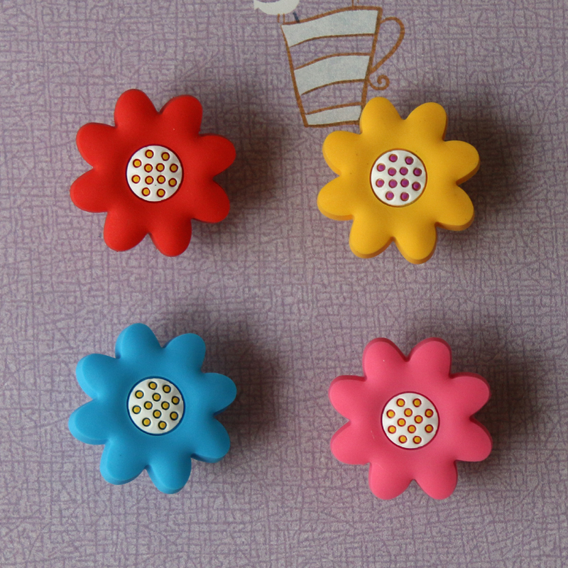Pink Blue Yellow Red Flower S Dresser Pull Soft Gum Drawer Pulls Handles Cabinet Hardware In From Home Improvement On
