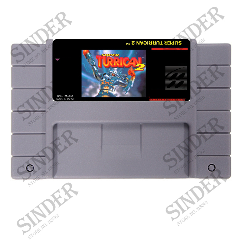 Super Turrican 2 EUA Versão 16 pouco Grande Cinza Cartão de Jogo Para O Jogador Do Jogo NTSC