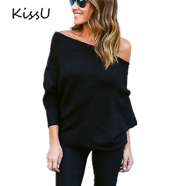 Winter Off Shoulder Women Sweaters and Pullovers Autumn knitted sweater pullover Long Batwing Sleeve Knitwear Jumper 50
