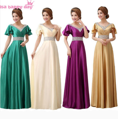 50b99ee4a Vestido Formatura De Festa Longo Modest Green Emerald Prom Dresses With Cap  Sleeves 2014 New Arrival