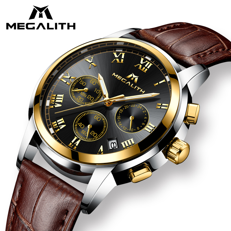 MEGALITH Black Watches Men Waterproof Clock Date Luminous Leather Quartz Wrist Watch Mens Analogue Sport Watch Relogio Masculino стоимость
