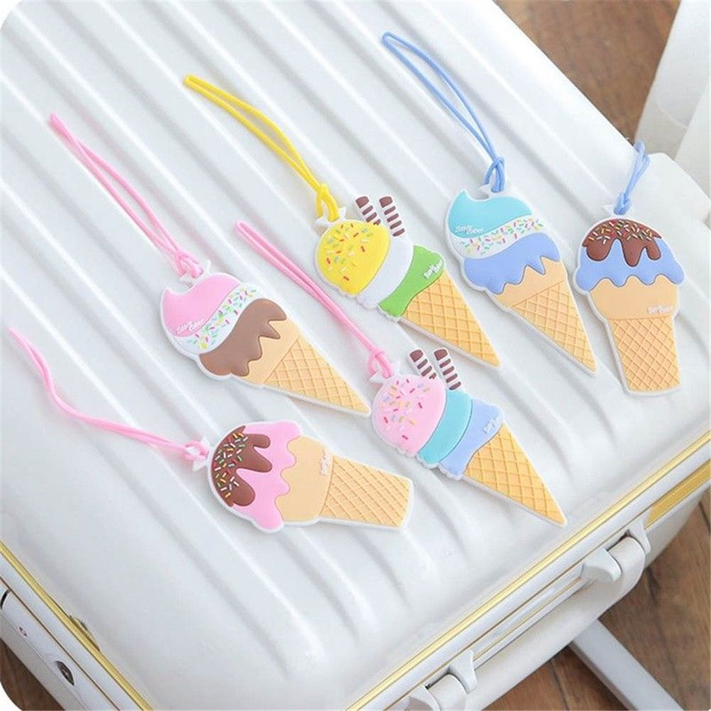 Ice Cream Modeling Silicone Luggage Tags Baggage Suitcase Name Tag Travel Boarding Label Baggage Travel Accessories Style Random(China)
