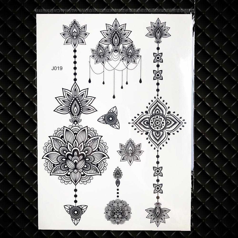 22ac53d5d 25 Styles Sexy Lace Black Henna Temporary Tattoo Sticker - Metal ...