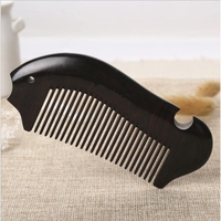 Natural Ebony Black Sandalwood Comb Fish Type Home Hair Massage Boutique Comb