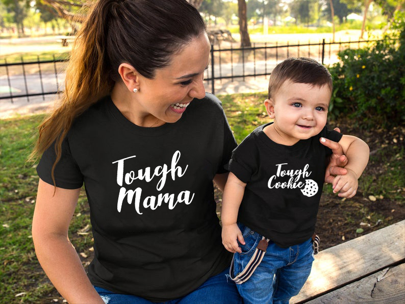 Tough Mama Tough Cookie Mother And Son/Daughter Matching Set Mom And Baby Shirts Summer Short Sleeve Kids And Mom's Outfits