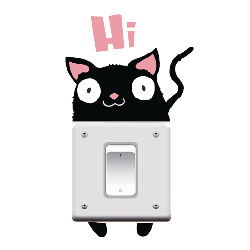 Funny Cat Say Hi Switch Stickers Outlets Decor Diy Cartoon Animals Kitten Wall Vinyl Home Decals