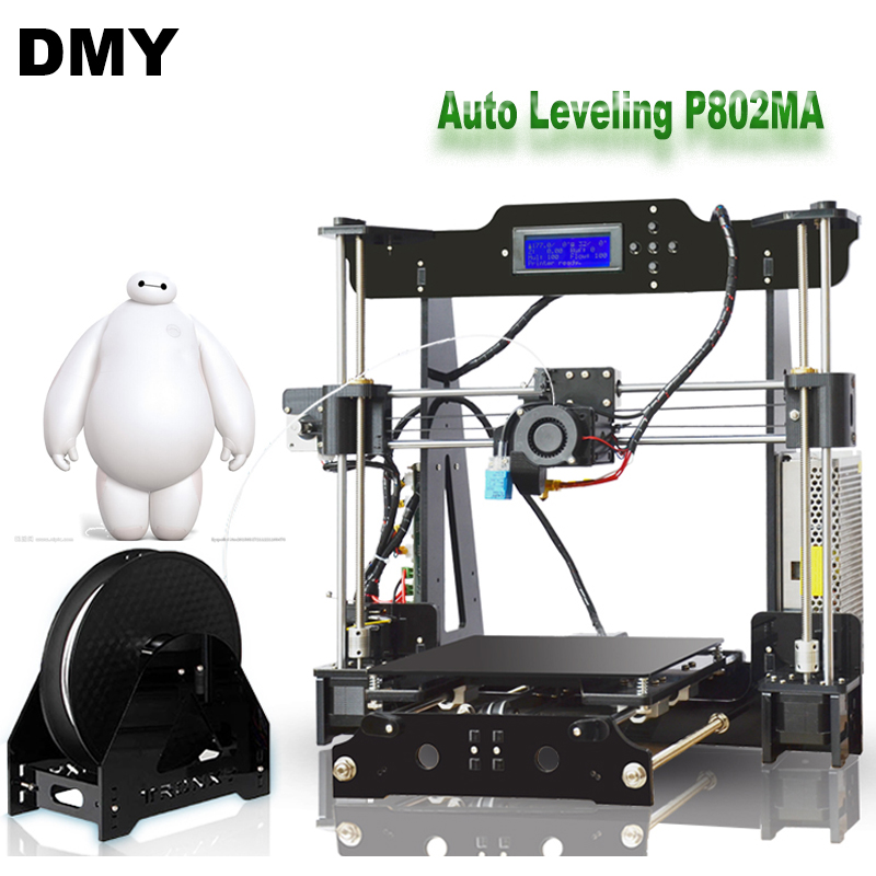 2017 High Precision Auto Leveling P802MA Reprap Prusa 3d printer DIY Kit With Free 1Roll Filaments Aluminum Hotbed LCD Gift