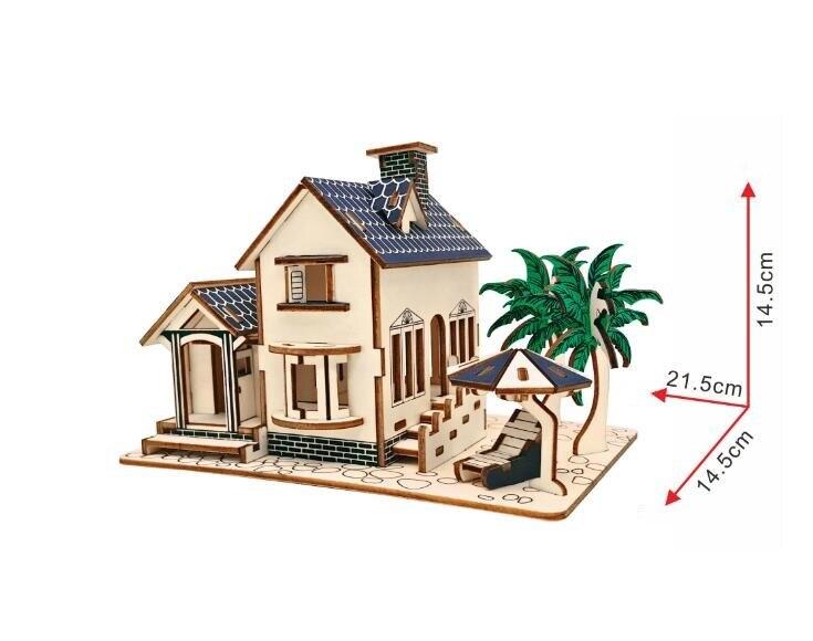 Моделирование домик на пляже Модель 3d трехмерные деревянные головоломки игрушки для детей Diy ручной работы деревянные пазлы