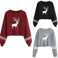Women Casual Long Sleeve O Neck Deer Print Sweatshirt Tops Long Sleeve Cotton Woman Girls Clothes
