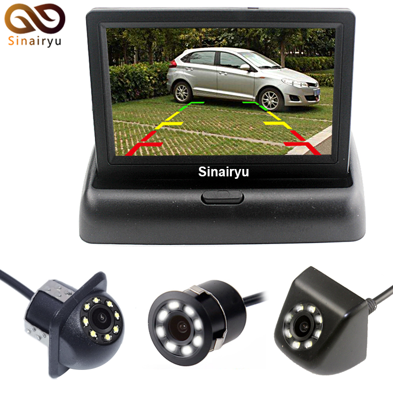 Auto 4.3 inch Car Rearview Mirror Monitor HD Video Auto Parking Monitor CCD HD LED Rearview Backup Reverse Camera Weatherproof